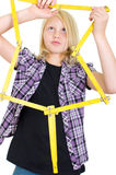 Girl with a ruler Stock Images
