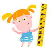 Girl with ruler Stock Images