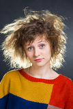 Girl with rumpled hair Royalty Free Stock Photos