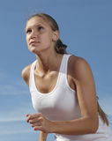 Girl run stock photos