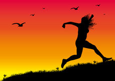 Girl run away 1. Illustration of a run away girl at sunset Stock Photos