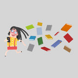 Girl run away of many books. 