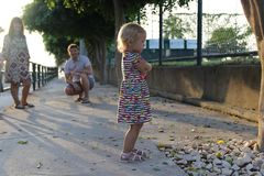 Girl run away from parents stock image