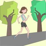 Girl run morning street color vector illustration Stock Photo