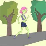 Girl run morning street vivid color vector Royalty Free Stock Images