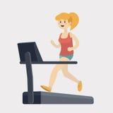 Girl run on treadmill cartoon vector illustration Royalty Free Stock Photo