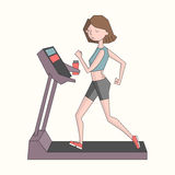Girl run treadmill color vector illustration Stock Photos