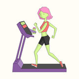 Girl run treadmill vivid color vector illustration Royalty Free Stock Images