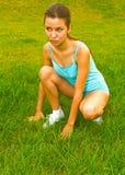 Girl before running stock images