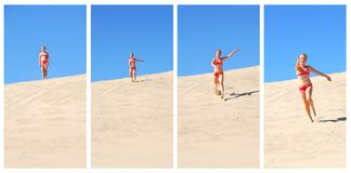Girl running. Four frames of young girl running down sand dune in the summer Royalty Free Stock Photo