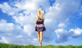 Girl running away Royalty Free Stock Image