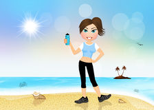 Girl running on the beach Royalty Free Stock Image