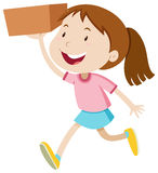 Girl running with a box Stock Images