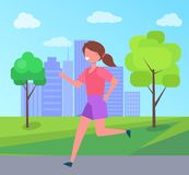Girl Running in City Park Skyscraper on Background. Girl running in city park on background of skyscrapers and green trees vector illustration female character Royalty Free Stock Photography