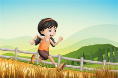 A girl running at the farm. Illustration of a girl running at the farm Stock Photos