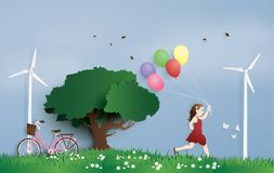 The girl running in the field with balloon. Royalty Free Stock Images