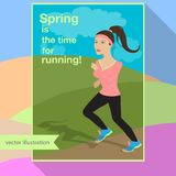 Girl is running in the field vector illustration Royalty Free Stock Images