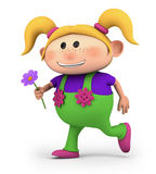Girl running with flower. Cute little cartoon girl running with flower - high quality 3d illustration stock illustration