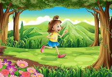 A girl running at the forest Stock Images