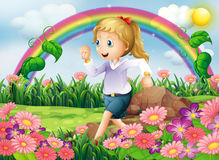 A girl running in the garden. Illustration of a girl running in the garden Royalty Free Stock Photos