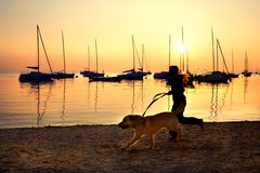 Girl running with her dog by the lake at sunset Royalty Free Stock Photography