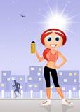 Girl running. Illustration of funny girl running Royalty Free Stock Photography