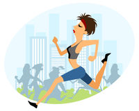 Girl running marathon Royalty Free Stock Photo
