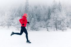 Free Girl Running On Snow In Winter Mountains Royalty Free Stock Image - 107990486