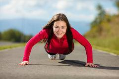 Girl running outdoor Royalty Free Stock Image