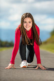 Girl running outdoor Royalty Free Stock Images