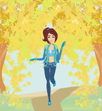 Girl running in the park, autumn landscape Stock Image