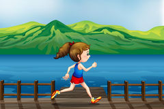 A girl running at the port. Illustration of a girl running at the port Stock Image