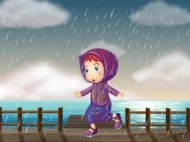 Girl running in rain at the pier. Illustration Royalty Free Stock Photos