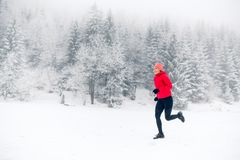 Girl running on snow in winter mountains. Sport, fitness inspiration and motivation. Young happy woman trail running in mountains stock image