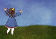 Girl running in a spring meadow Stock Photo