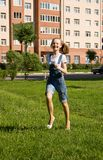 Girl is running.Summer joy Stock Photo