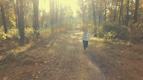 Girl running in the sunny morning forest. Sport stock footage