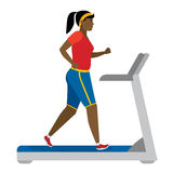Girl running on treadmill. Stock Photo