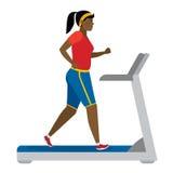 Girl running on treadmill. Stock Photo