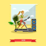 Girl running on a treadmill in fitness center. Gym and healthy lifestyle concept vector poster in flat style Stock Photos