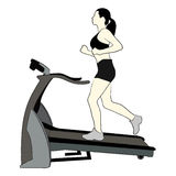 Girl running on treadmill Royalty Free Stock Photos