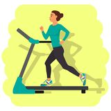 Girl running on treadmill and the shadow of the running girl on the wall. Vector illustration in flat style. Girl running on treadmill and the shadow of the Stock Image