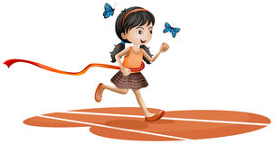 A girl running with two blue butterflies stock illustration