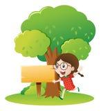 Girl running under the tree. Illustration Royalty Free Stock Photo