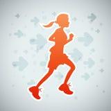Girl Running. Vector illustration of a girl running exercise Royalty Free Stock Photo