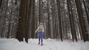 A girl is running in the winter forest. Beautiful girl with long dark hair in a white jacket walking in a winter forest during a s stock video footage