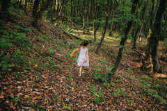 Girl running in the woods Royalty Free Stock Photography