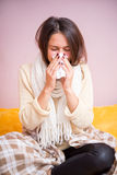 Girl with a runny nose Royalty Free Stock Photography
