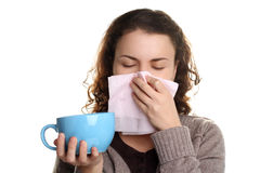 Girl with the runny nose Stock Photos