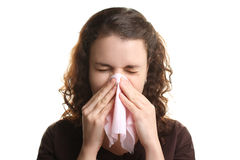 Girl with the runny nose Stock Photo